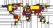 World map in mondrian style; colorful rectangles.  poster