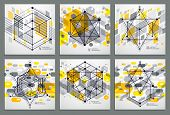 Vector Of Modern Abstract Cubic Lattice Lines Yellow Backgrounds Set. Layout Of Cubes, Hexagons, Squ poster