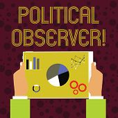 Word Writing Text Political Observer. Business Concept For Communications Demonstrating Who Surveys  poster