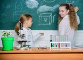 Smart Cuties. School Children In Science Classroom. Microscope And Laboratory Equipment. Laboratory  poster