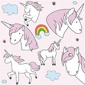 Glitter Unicorn Drawing For T-shirts. Design For Kids. Fashion Illustration Drawing In Modern Style  poster