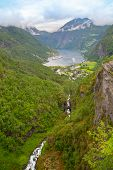 Panoramic View Of Geiranger Seaport, Norway. End Of Famous Geiranger Fjord, Norway With Cruise Ship, poster