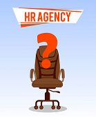 Open Vacancy Poster Vector Template With Text. Hr Agency. Recruitment, Hiring. Office Chair With Que poster