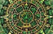 stock photo of mayan  - The green Mayan calendar predicting  apocalypse on the year 2012 - JPG
