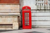 London, Uk - Architecture Of Victoria And Albert Museum And A Red Telephone poster