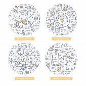 Doodle Vector Concepts Of Strategy Planning, Creating Business Plan, Setting Goals To Success, Makin poster