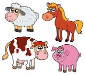 foto of farm animals  - Farm animals collection four animals  - JPG