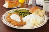 picture of mashed potatoes  - Chicken fried steak with mashed potatoes and country gravy - JPG