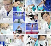 stock photo of flask  - Montage of a medical or scientific research team men and women using microscopes and looking at test tubes in a laboratory - JPG