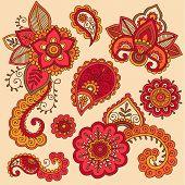 stock photo of henna tattoo  - Henna Flowers and Paisley Mehndi Tattoo Doodle Set - JPG