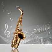 foto of sax  - Saxophone with musical notes in an empty room copy space ready - JPG