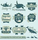 picture of oceanography  - Collection of retro style oceanography class labels and icons for back to school in college and high school - JPG
