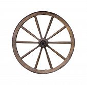 image of wagon wheel  - Old wooden wagon wheel on white - JPG