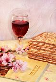 picture of hebrew  - spring holiday of Passover and its attributes - JPG