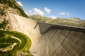 stock photo of dam  - Kaprun dam wall - JPG