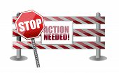Action Needed Barrier Illustration Design