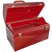 picture of miss you  - An empty red metal toolbox where you can place text or tools for a message or to show a special picture inside - JPG