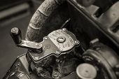 foto of rudder  - Close up view of an old war planes rudder trim controls - JPG