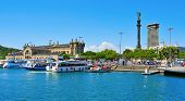 BARCELONA, SPAIN - AUGUST 16: Port Vell and Columbus Monument on August 16, 2012 in Barcelona, Spain