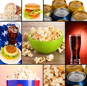 stock photo of butter-lettuce  - Collage of fast food - JPG