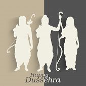 foto of sita  - Indian festival Happy Dussehra background with white silhouette of Hindu community Lord Rama with his wife Sita and brother Laxman - JPG