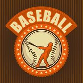 picture of hitter  - Retro baseball badge - JPG