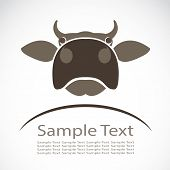 image of bull head  - Vector image of an cow on white background - JPG