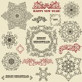 foto of std  - vector vintage holiday floral design elements and snowflakes fully editable eps 8 file standard AI fonts - JPG