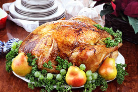 picture of poinsettia  - Thanksgiving or Christmas turkey dinner with fresh pears grapes and parsley - JPG