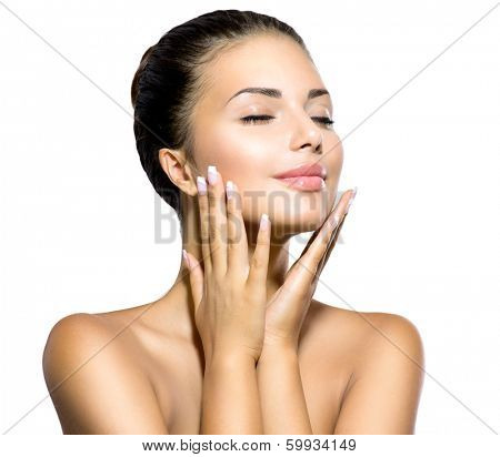 Beauty Spa Woman Portrait. Beautiful Girl Touching her Face. Perfect Fresh Skin. Pure Beauty Model G poster