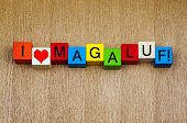 Magaluf, Majorca, Spain, Sign Series For Holiday Destinations And Travel. poster