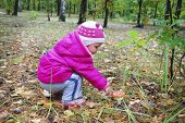 foto of face-fungus  - Little girl in the forest fly agaric finger touches