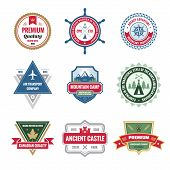 image of wind wheel  - Badges collection in vector format for different design works - JPG
