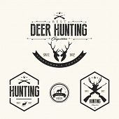 stock photo of antlers  - Set Of Vintage Hunting Labels And Badges - JPG