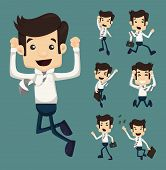stock photo of caricatures  - Set of businessman leaping characters poses eps10 vector format - JPG