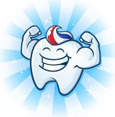 stock photo of molar  - A powerful muscle man molar cartoon character with tooth paste for hair - JPG