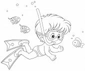 pic of long-fish  - Boy diving with a mask and snorkel among funny fishes - JPG