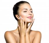 Beauty Spa Woman Portrait. Beautiful Girl Touching her Face. Perfect Fresh Skin. Pure Beauty Model G