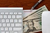 image of twenty dollar bill  - online banking - JPG