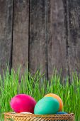 foto of easter candy  - Easter rustic background with eggs and grass - JPG