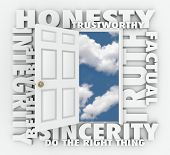 Honesty Integrity Reputation Truth Sincerity Word Door