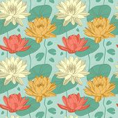 image of lily  - Lotus and water lily flowers in seamless pattern - JPG