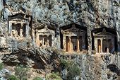 stock photo of dalyan  - Cave tombs of Kaunos near Dalyan - JPG