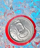 stock photo of coca-cola  - Details of Soda can in ice and drops - JPG