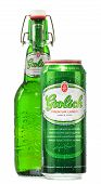 Bottle And Can Of Grolsch Beer Isolated On White