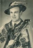 RABKA, POLAND, MARCH 20, 1954 - Vintage photo of man in Polish highlander folk costume