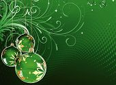 pic of christmas cards  - Vector illustration of green Holiday card with christmas balls on the abstract floral background - JPG