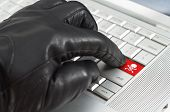 Hacker Concept With Hand Wearing Black Leather Glove Pressing Enter Key Button