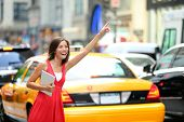 foto of cabs  - Girl calling taxi cab in New York City - JPG