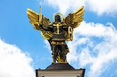 stock photo of kiev  - Monument of Angel in Kiev independence square - JPG